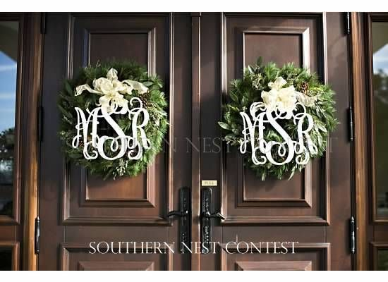 """""""We used our Southern Nest monograms to decorate the entryway doors to our winter wedding reception."""" -Marissa"""