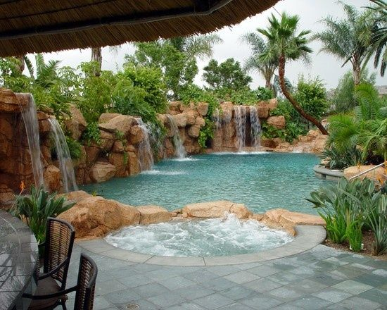 135 best Tropical Pools images on Pinterest | Backyard ... on Tropical Backyard Ideas With Pool id=66534