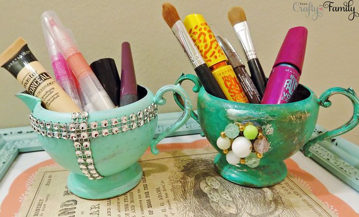 How to turn old sugar & creamer dishes into pretty makeup storage!