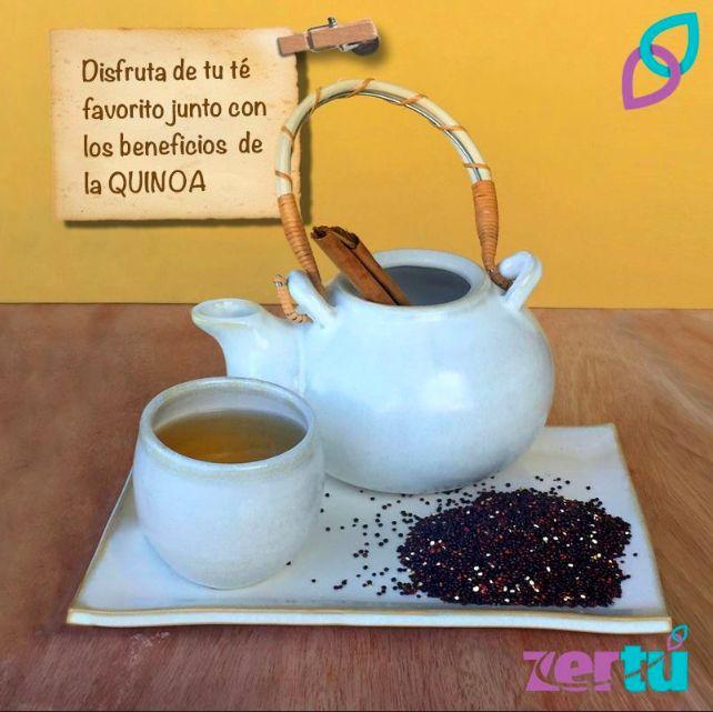 Disfruta de tu #TÉ FAVORITO junto con los beneficios de la #QUINOA  INSTRUCCIONES: Hervir 3 tazas de agua y agregar 1/2 taza de QUINOA, dejarla por 15 min e infusionar el agua con tu té favorito.  Al hervir la QUINOA en el agua, se concentran los nutrientes de la QUINOA, si gustas puedes colar el té y utilizar los granos en una ensalada o bien para mayor fuente de nutrientes disfruta tu té con todo y los granos de QUINOA Endulza con #miel. #ZerTú @zertumx