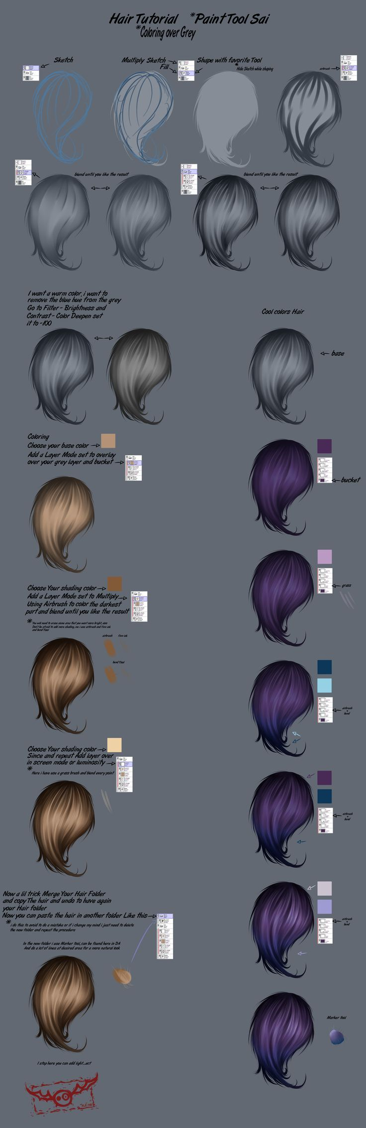 Hair Step By Step Tutorial (Paint Tool Sai) 2 by FleNB.deviantart.com on @DeviantArt