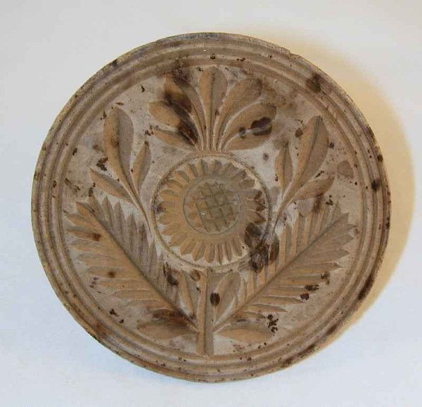 Antique Deep Carved Wood Primitive Butter Print Stylized Thistle Decoration Knob Like Handle
