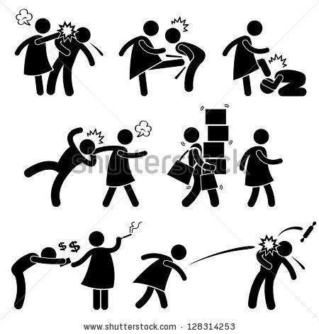Abusive Wife Girlfriend Weak Husband Boyfriend Stick Figure Pictogram Icon by Leremy, via ShutterStock