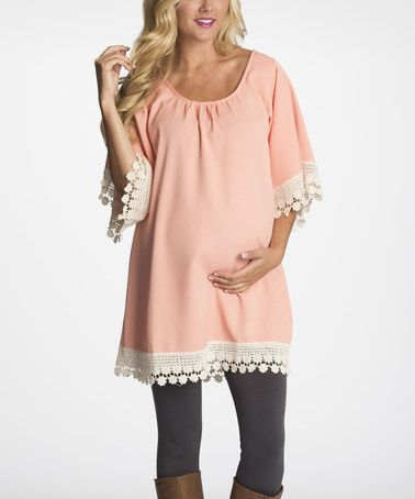 This PinkBlush Light Pink Crochet-Trim Maternity Tunic - Women by PinkBlush Maternity is perfect! #zulilyfinds
