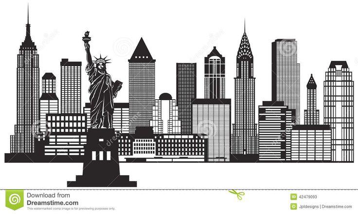 New York City Skyline Black And White Illustration Vector Stock Vector - Image: 42479093