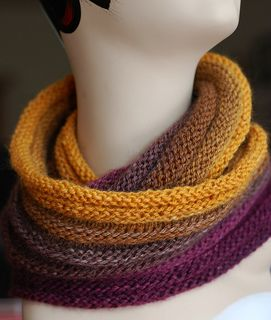 Backseat Passenger Cowl by Amy Castillo perfect for showing off the amazing colorways of elann.com Pippi Longcolors.