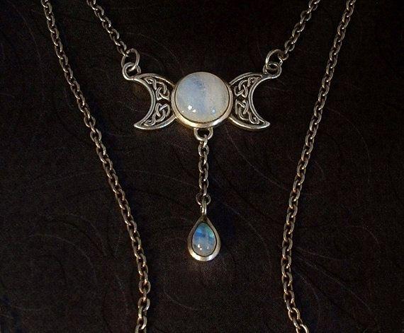 266 best moonstone images on pinterest vintage jewelry ancient vintage sterling silver moonstone necklace celtic lunar crescent moon motif signed mozeypictures Images