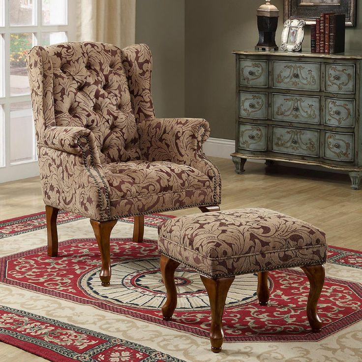 2 Pc New Cozy Fabric Button Tufted Seat Wing Back Arms