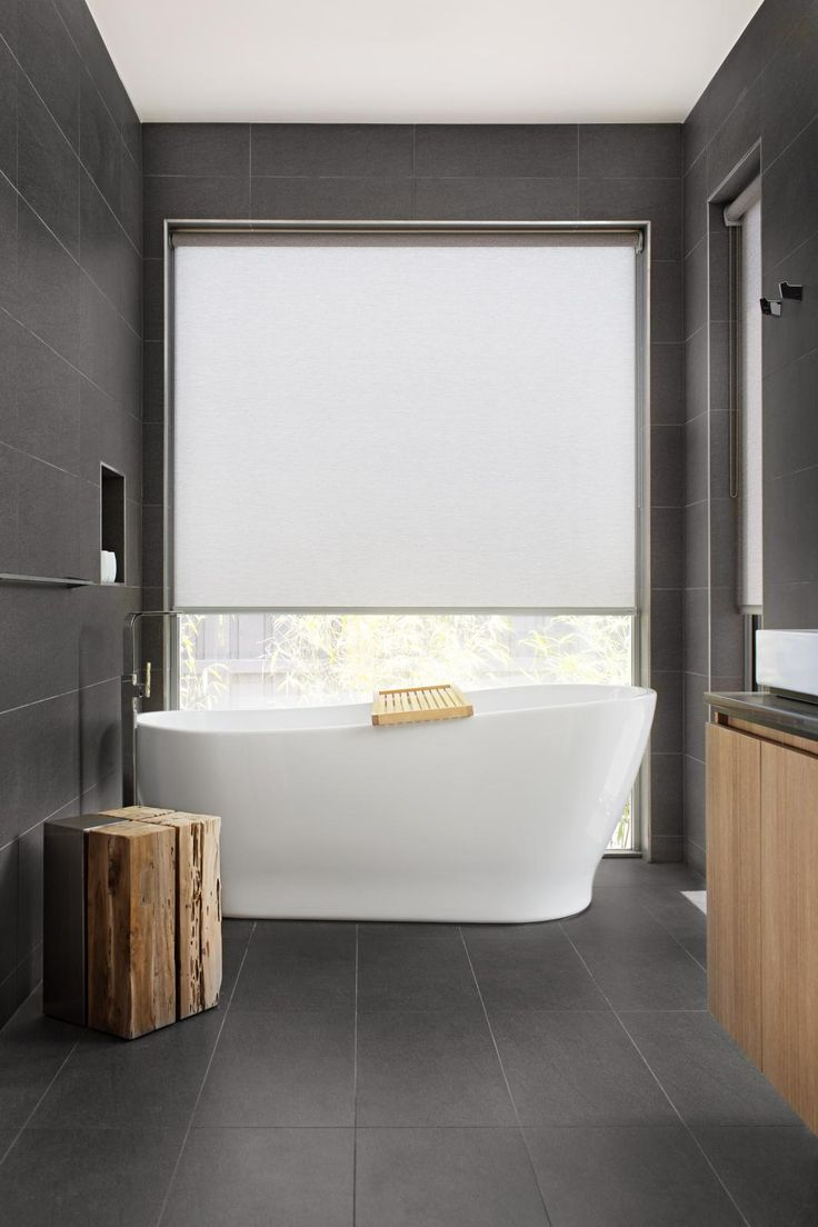 Bathroom window blinds - Roller Shades A Clean Modern Look For The Bathroom