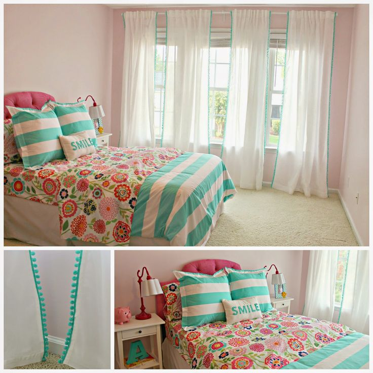 Pom-Pom Curtains - At Ikea, I bought two pairs of white Vivan curtains for $10 per pair. Added pompoms. Tutorial.