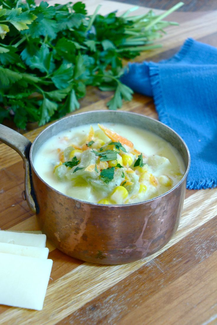This delicious Vegetable Chowder is full of fresh corn, carrots and potatoes. Using light cheddar cheese and reduced fat cream cheese its also light on calories. Try it today.