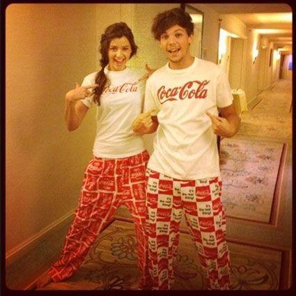 Louis Tomlinson and Eleanor Calder in matching Pajamas, so cute!
