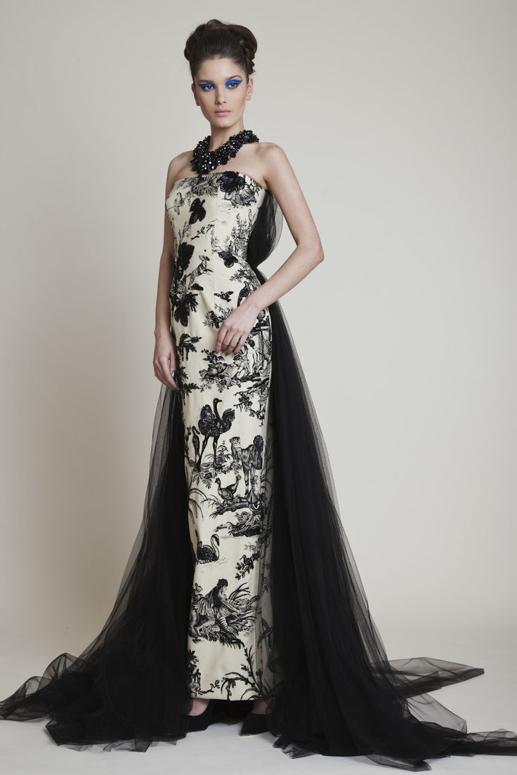 Azzi Osta Long Hand Beaded Strapless Printed Dress With Black Tulle Back And Tail