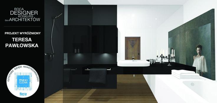 Wśród wyróżnionych projektów w konkursie Roca Designer, znalazła się także praca Teresy Pawłowskiej. Projekt wyróżnia się pomysłowością wykorzystania klasycznego wdzięku łazienki. W aranżacji nie zabrakło też najważniejszego- funkcjonalnego rozmieszczenia produktów ROCA z powłoką MAXI CLEAN.