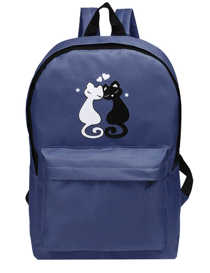 Fashion Cute Love Cats Print Solid School Backpack Bag