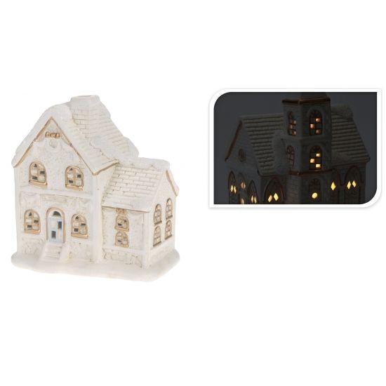 Porseleinen huisje met led licht type 2  Dit witte huisje met gouden accenten is gemaakt van porselein heeft een afmeting van ca. 18 x 16 x 11 cm. Incl. 3x LR44-batterijen.  EUR 9.99  Meer informatie