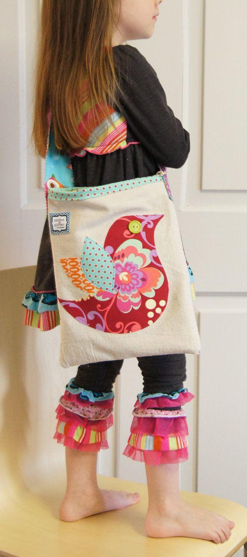 Red Bird Appliqued Canvas Crossbody cross body Bag for Girls Messenger bag. $29,00, via Etsy.