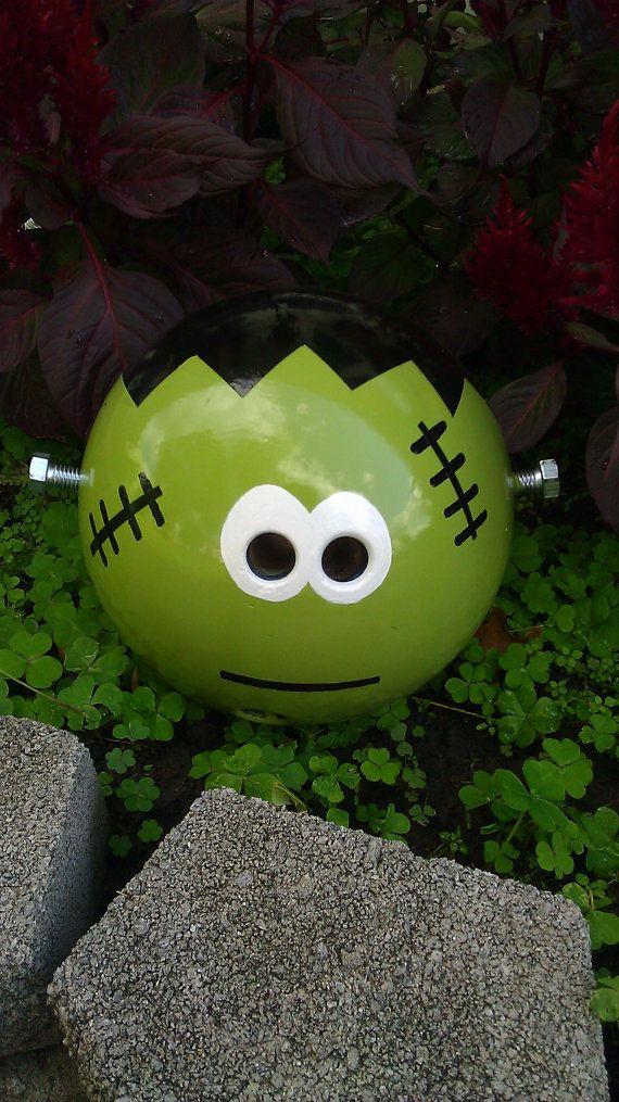 Frankenstein+Bowling+Ball+Garden+Ornament+by+CraftMeUpSomeFun,+$45.00
