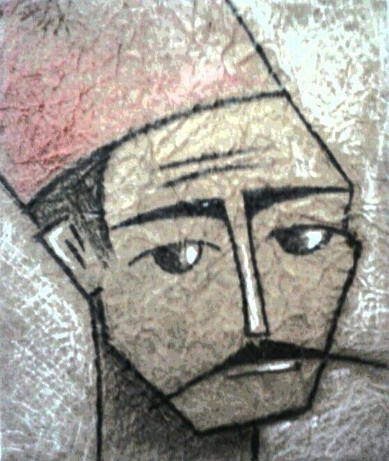 A man  Soft pastille on paper by : Aya Fayez