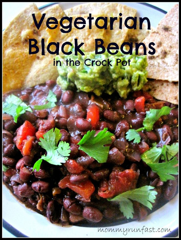 Vegetarian Black Beans in the crockpot |