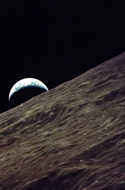 crookedindifference:  December, 1972 - Apollo 17. Earthrise viewed from Apollo 17   night night Tumblr