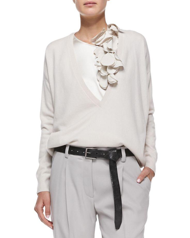 Brunello Cucinelli норки Блузон куртка, свитер с лепестками Tank, плиссе моркови Брюки & Metallic пояса