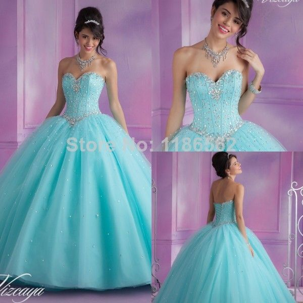 2014 New Fashion Ball Gowns Sweetheart Crystals Details Pink / Blue Soft Tulle Princess Quinceanera Dresses for Sweet 16 Years