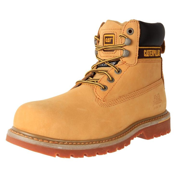 Buy Men's Caterpillar Holton Steel Toe lace up work Boots online. Leather water resistant upper and rubber sole. Also offers toe protection. Conforms to AUS safety standards.