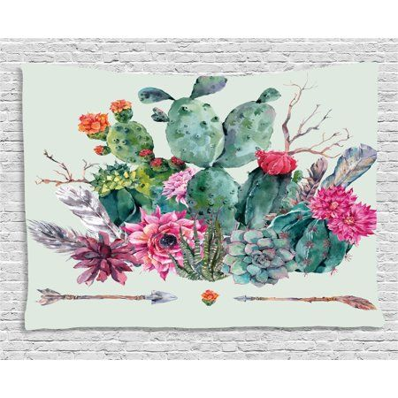 Cactus Decor Tapestry, Spring Garden with Boho Style Bouquet of Thorny Plants Blooms Arrows Feathers, Wall Hanging for Bedroom Living Room Dorm Decor, 60W X 40L Inches, Multicolor, by Ambesonne