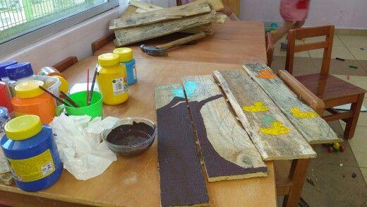 Comenzando mi pequeña obra de #Arte #Reciclaje #Pinturas