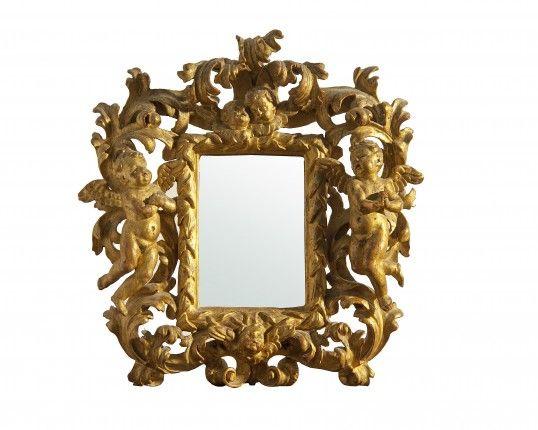 """Cornice """"a cartoccio"""" intagliata e dorata Bologna Sec XVIII"""