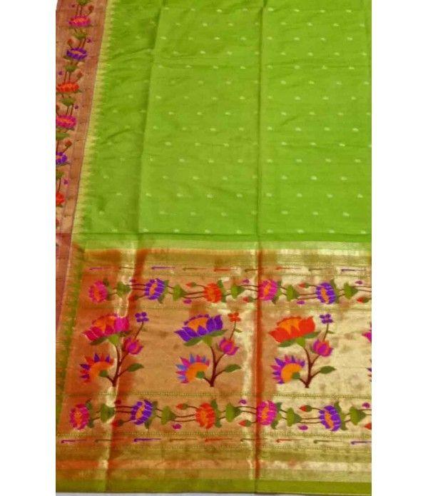 Green  Handloom Paithani Pure Silk Saree