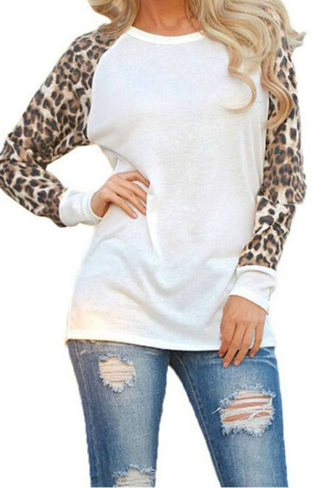 Walk in The Wild Leopard Top -White