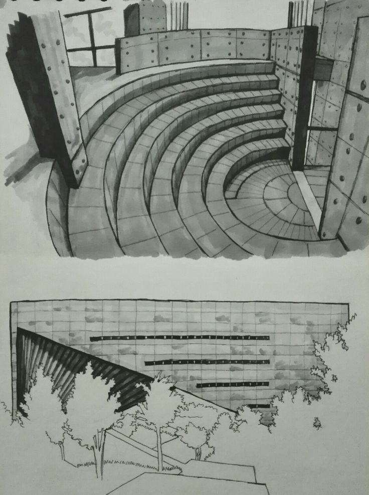 #drawing #art #architecture #marker #copic #building #tadao #ando #concrete #udem #gateofcreation