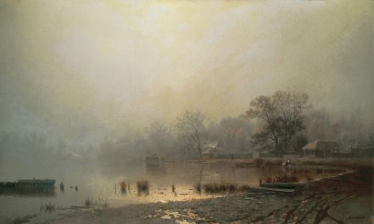 Fog. Red pond in Moscow in autumn - Lev Kamenev