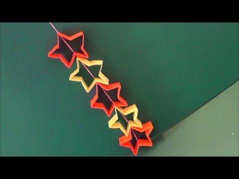 """▶ 七夕・クリスマスに。「つづり星飾り」折り紙""""Star decoration"""" origami. At Tanabata and Christmas. - YouTube"""