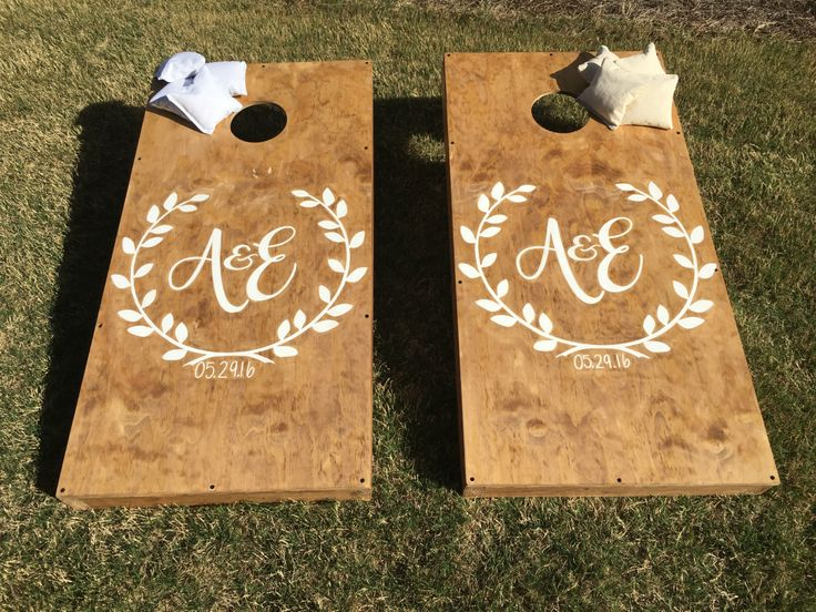 Custom Wedding Cornhole Boards by StarsStripesSawdust on Etsy https://www.etsy.com/listing/292720453/custom-wedding-cornhole-boards