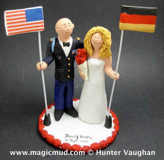 Army Groom In Uniform Wedding Cake Topper, Dress Blues Uniform Wedding Cake Topper, Beer Stein Wedding Cake Topper, Army Wedding Cake Topper    Dress blues, camouflage, whites, whatever uniform you want your Soldier Groom wearing    $235 #magicmud 1 800 231 9814 www.magicmud.com