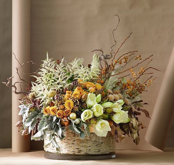 Astilbe Centerpiece Dusty Miller Roses Birch Fall Look Fall Pinterest Winter Floral