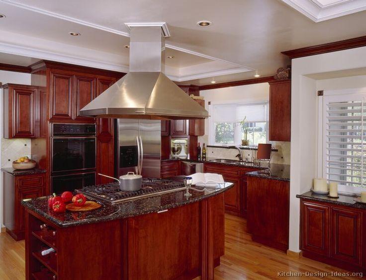 Black Appliances Wood Floor Green Kitchen Traditional Dark Wood Cherry Kitchen Cabinets 26