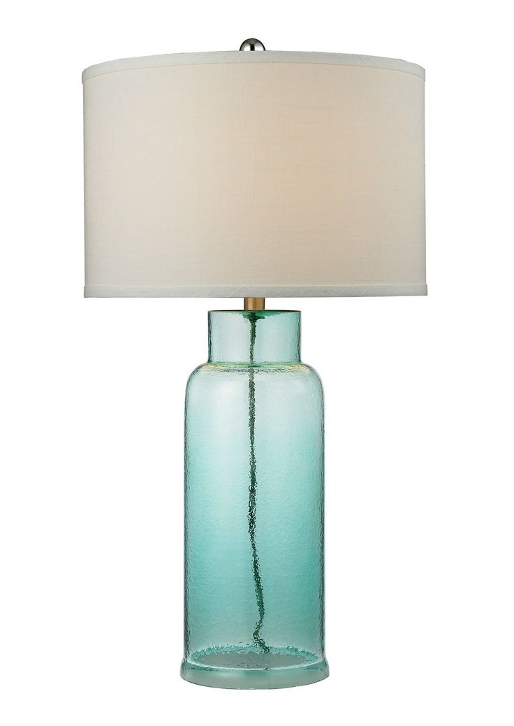 Seafoam Aqua Glass Buoy Shaped Lamp - love the color and shape!