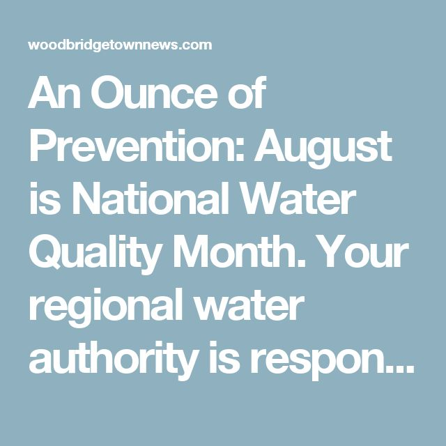 An Ounce of Prevention: August is National Water Quality Month.  Your regional water authority is responsible for making sure the public water you use is safe. And it is your responsibility to protect the public water supply by obeying rules posted by water authorities and not contaminating public watershed areas with pollutants. #savethewater