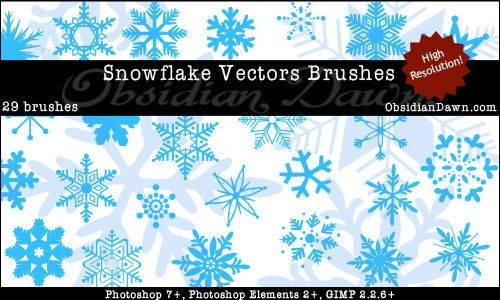 Obsidian Dawn Photoshop & GIMP Brushes - Snowflake Vectors (various snowflake shapes in vector style, as brushes)