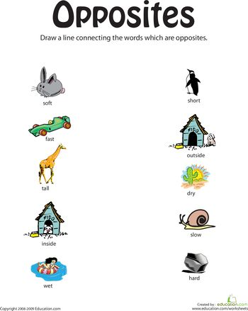 Teaching Opposites, Crafty Opposites, Opposites Preschool Worksheets ...