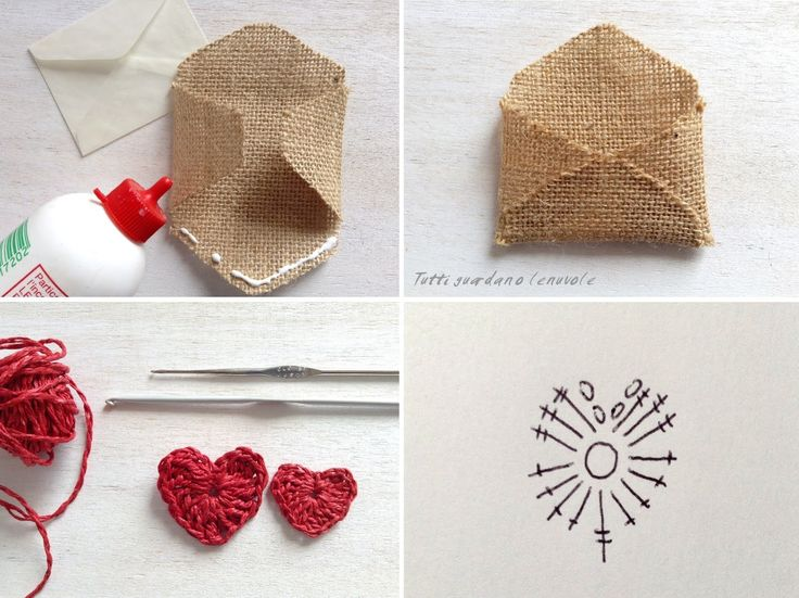 Packaging di San Valentino con card e biglietto di auguri in juta, riciclo creativo di un barattolo di vetro con tappo in corda , cuori a crochet.