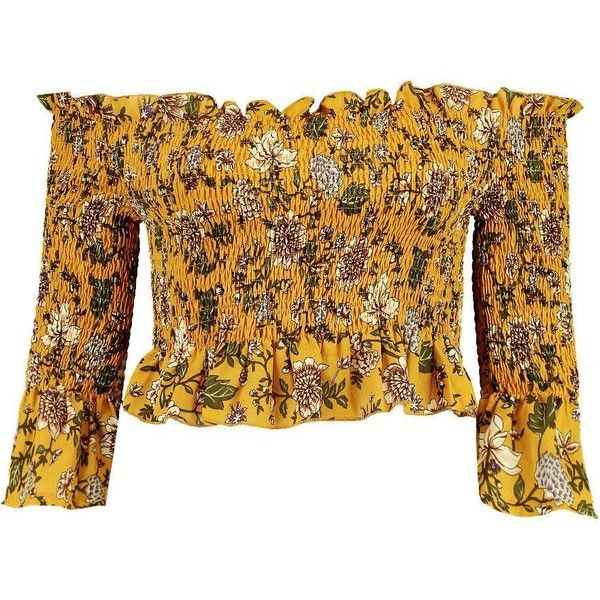 Boohoo Heather Floral Print Shirred Bardot Top (£20) ❤ liked on Polyvore featuring tops, polka dot crop top, off the shoulder tops, floral kimono, floral tops and kimono top