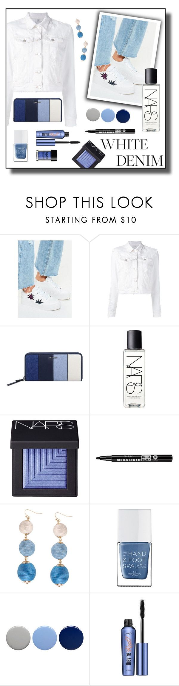 """White Denim"" by tomlin945 ❤ liked on Polyvore featuring Missguided, J Brand, Nine West, NARS Cosmetics, Bourjois, Humble Chic, The Hand & Foot Spa, Burberry, Benefit and NYX"