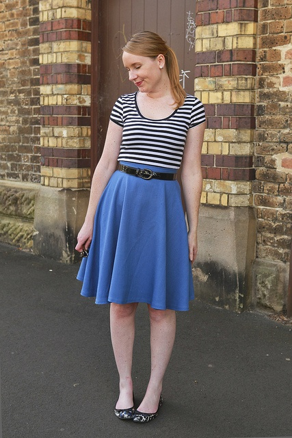 Day 7 Me Made May - Self-drafted Blue Circle Skirt {via Jennifer Lauren Vintage}
