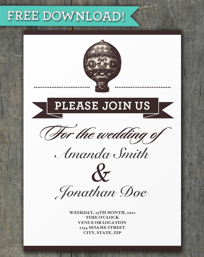 Free Vintage Hot Air Balloon Invitation Template