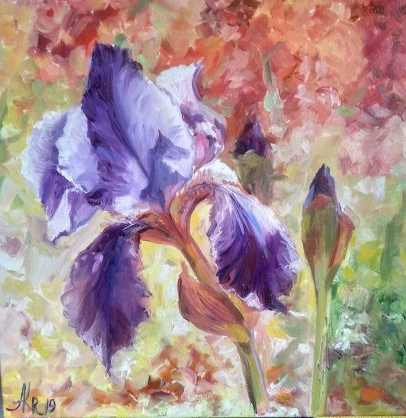 Iris Flower Painting On Canvas Impressionistic Oil Painting Etsy In 2020 Flower Painting Flower Painting Canvas Painting